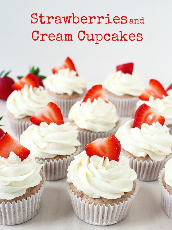 Strawberries and Cream Cupcakes