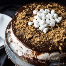 S'more Brownie Ice Cream Cake from A Zesty Bite