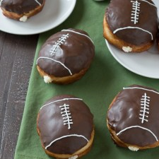 Cream Filled Chocolate Football Donuts from The First Year