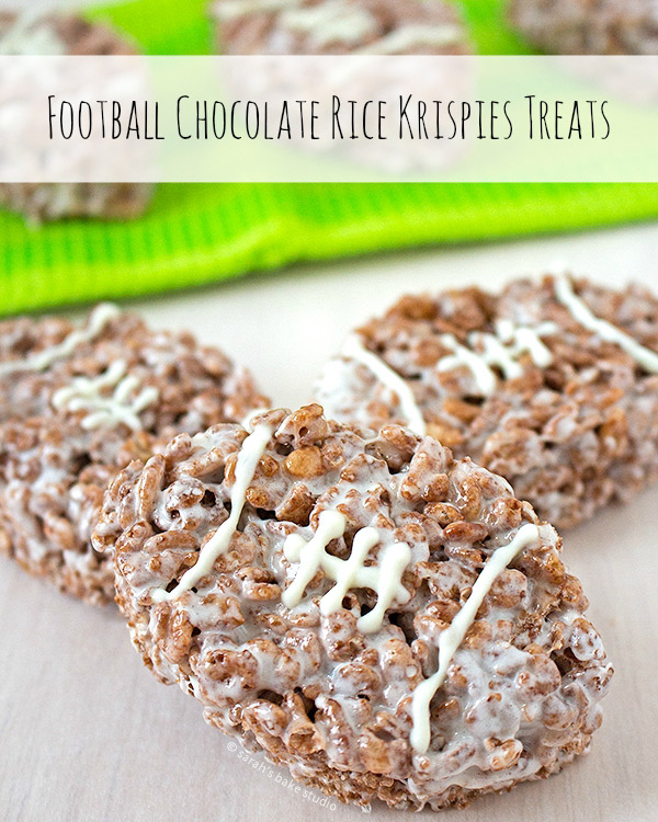 Football Chocolate Rice Krispies Treats! Grab the recipe on SarahsBakeStudio.com!