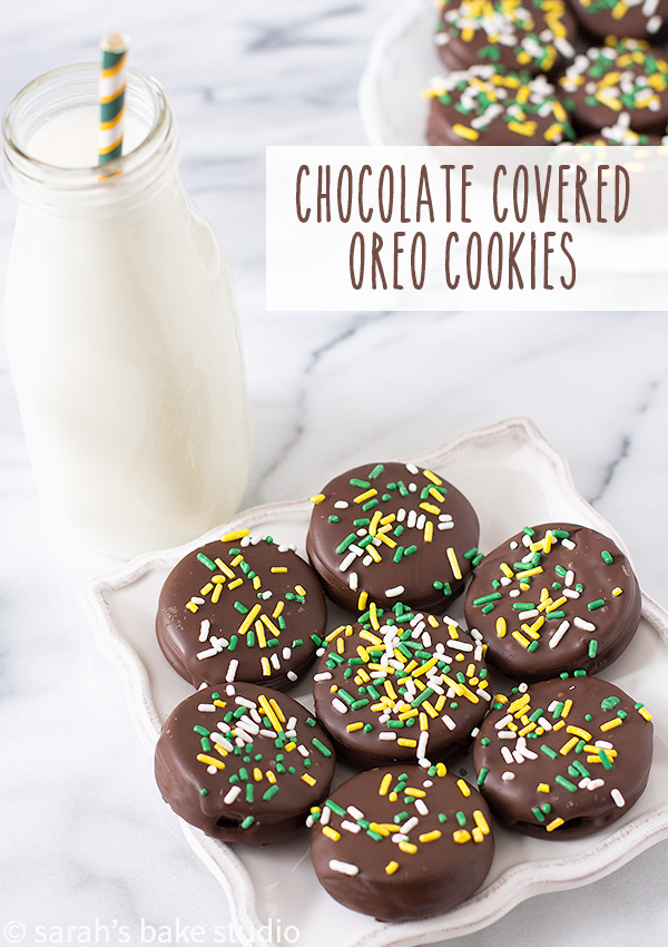 Chocolate Covered Oreo Cookies – dress up your favorite Oreo cookie with melted dark chocolate and sprinkles; your favorite Oreo cookies just got tastier!