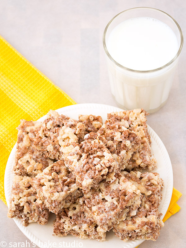 Marble Rice Krispies Treats – the happy marriage of Rice Krispies with Cocoa Krispies; your new favorite twist on this easy, chewy, crunchy, popular sweet treat!