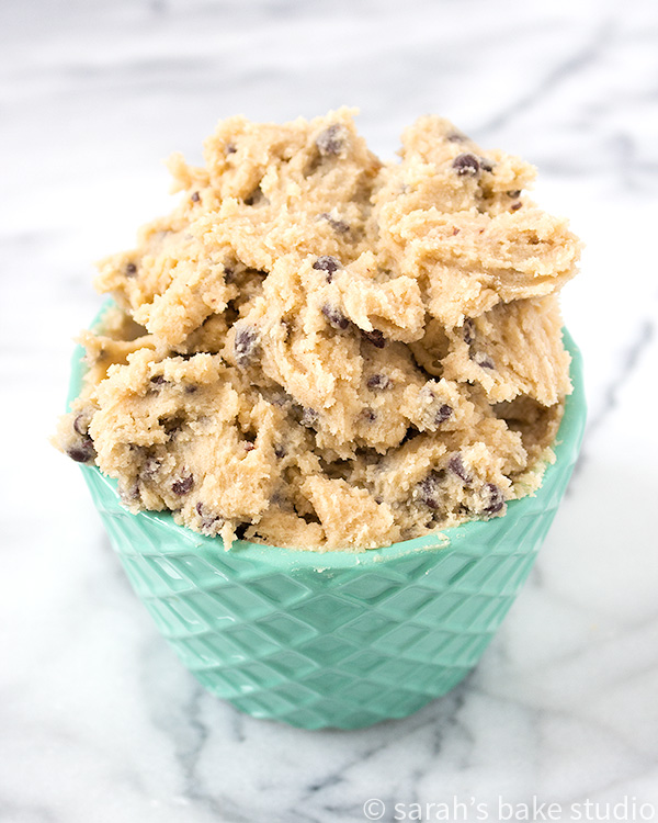 Chocolate Chip Cookie Dough Dip - your favorite edible cookie dough (minus the eggs) made into a delicious dip; perfect for dipping graham crackers, animal cookies, and apples in! Yum!