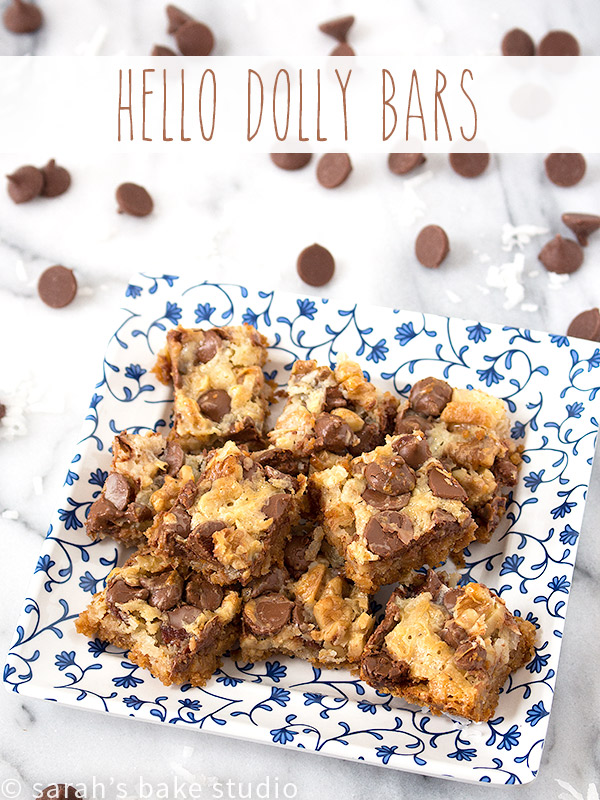 Hello Dolly Bars – crushed graham crackers, flaked coconut, and milk chocolate chips make these gooey bars positively scrumptious; they're a wicked good chocolate treat!
