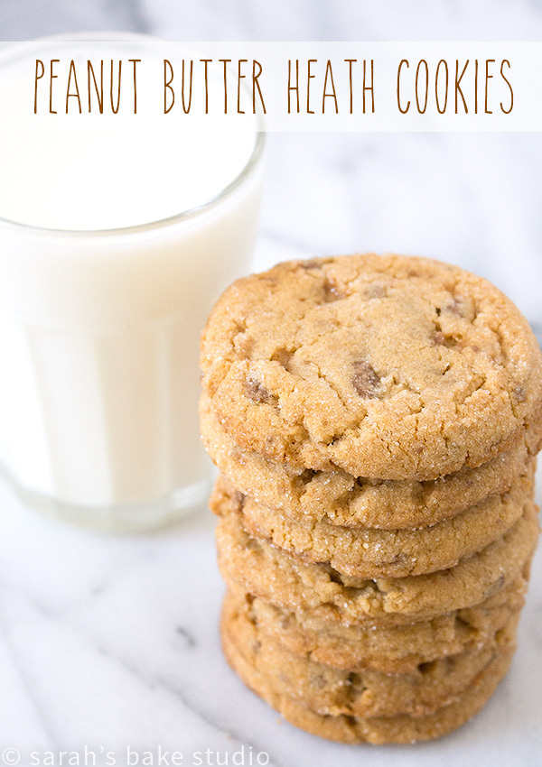Peanut Butter Heath Cookies – soft, chewy, and completely delicious peanut butter cookies that are seriously LOADED with peanut butter and Heath English Toffee Bits; the perfect marriage of flavors!
