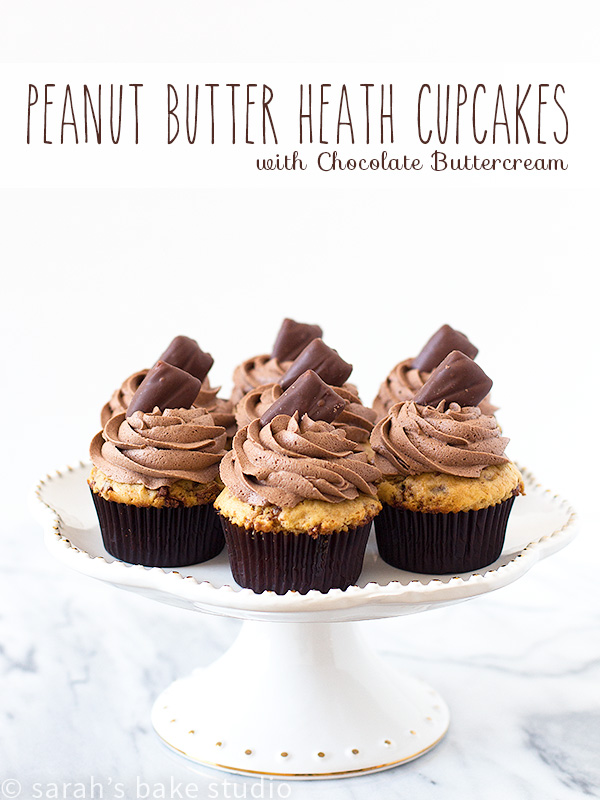 Peanut Butter Heath Cupcakes – a delectable doctored cake mix peanut butter cupcake with Heath Milk Chocolate Toffee Bits, topped with a fluffy cloud of chocolate buttercream and a Heath Miniatures.