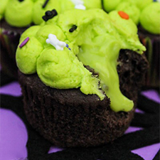 Ewwy Gooey Slime Filled Cupcakes from Make Bake Celebrate
