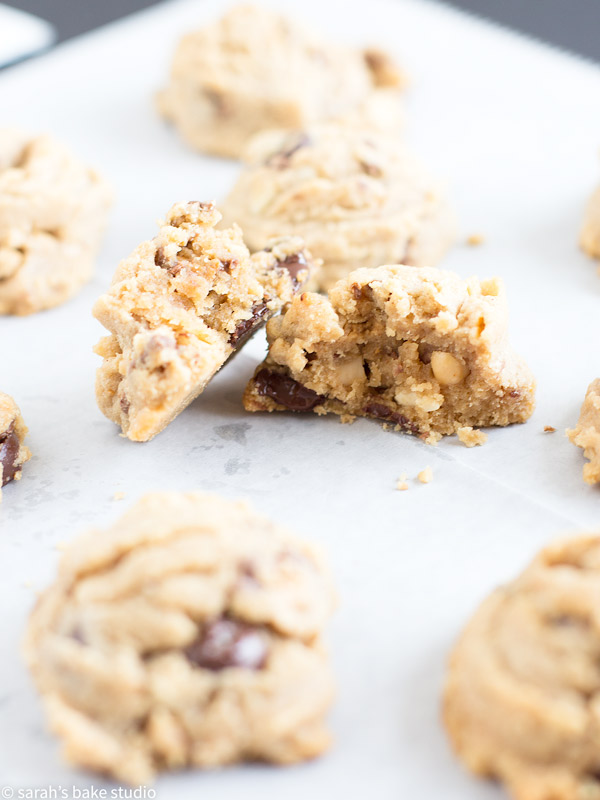 Chocolate-Peanut Blowouts – loaded with creamy peanut butter, salted peanuts, dark chocolate chips, and peanut butter cup minis; this peanut butter cookie is super peanut-buttery and melt in your mouth delicious!