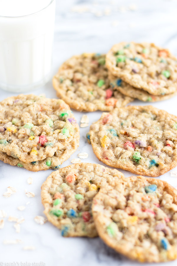 Crispy Sunflower Cookies – a touch of crispy, a bit of chewy, oodles of nutty, and a hint of chocolate make this oatmeal cookie with Sunburst Chocolate Covered Sunflower Seeds heaps of delightfully delicious!