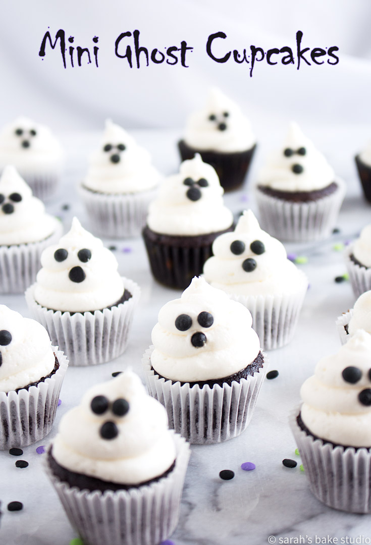 Mini Ghost Cupcakes – bite-sized mini cupcakes topped with ghoulish vanilla buttercream ghosts.