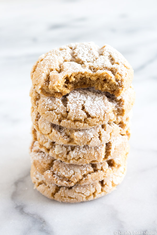 Peanut Butter Crinkle Cookies – a magnificent peanut butter cookie rolled in powdered sugar and baked to crinkle cookie brilliance; peanut butter lovers unite.
