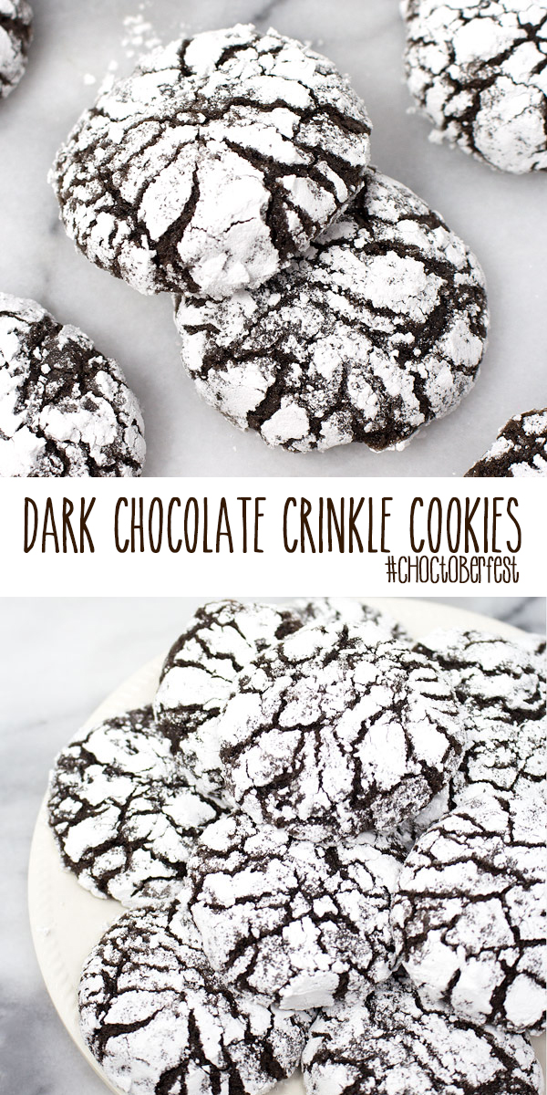 Dark Chocolate Crinkle Cookies #Choctoberfest – a cake mix crinkle cookie that is easy to make, has only 6-ingredients and is dark chocolatey delicious; perfect for getting your #Choctoberfest on!
