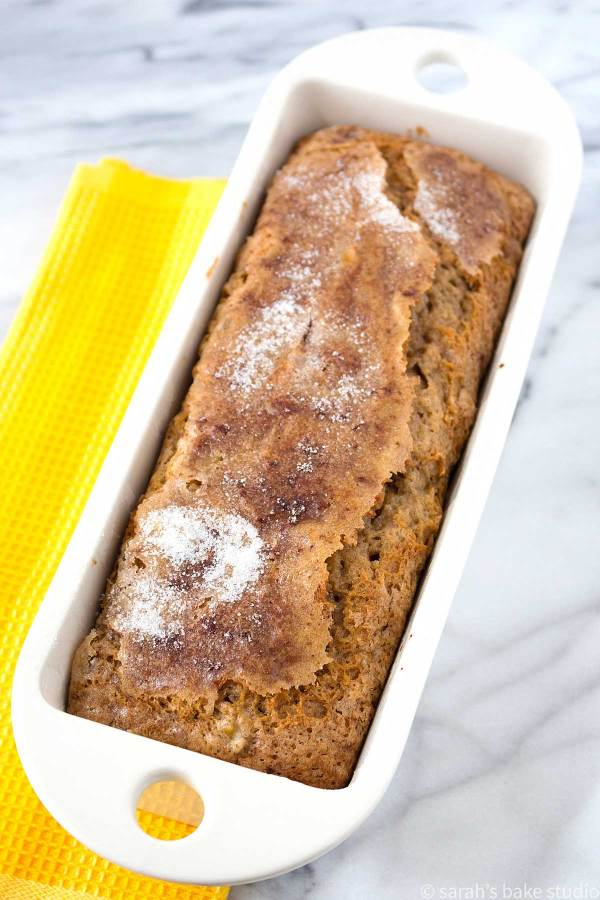 Banana Walnut Bread - the perfect combination of nutty banana goodness with a sweet hint of cinnamon and sugar; moist, perfect for breakfast, and positively scrumptious.
