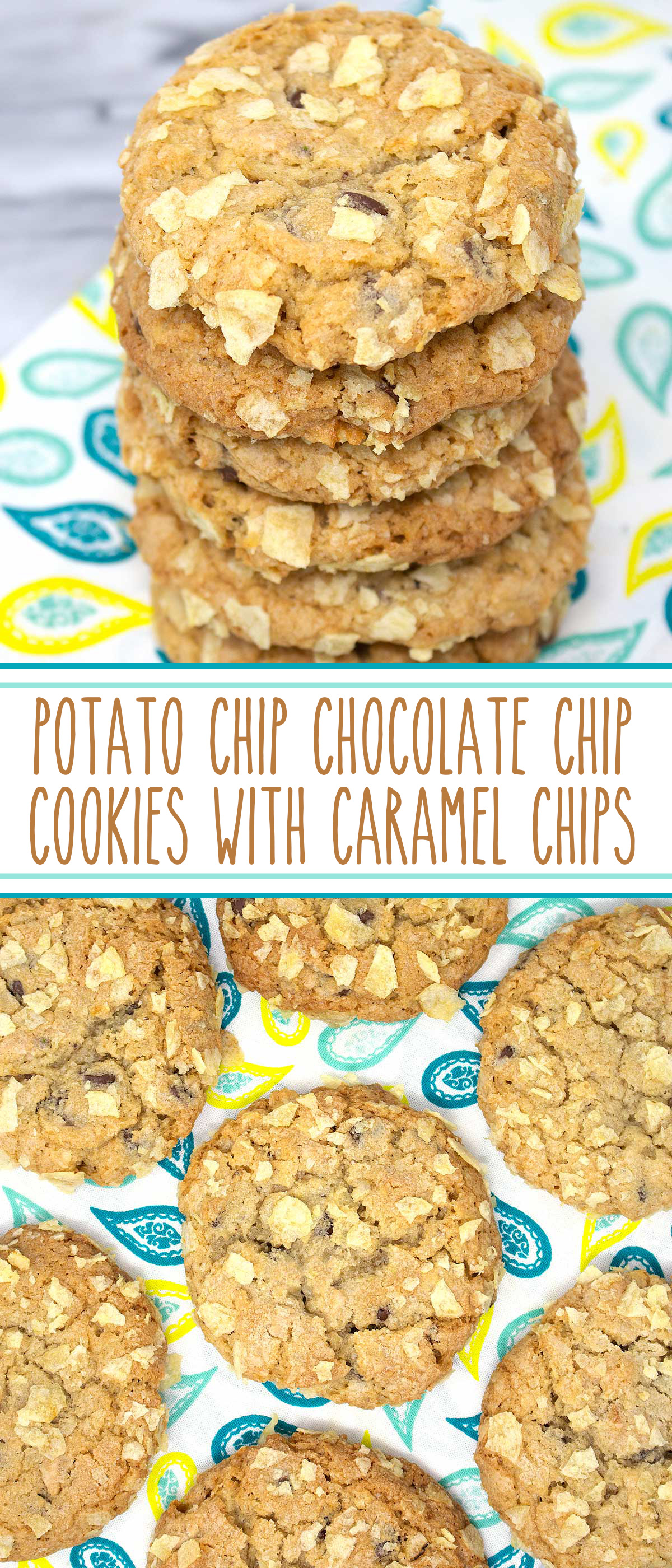 Potato Chip Chocolate Chip Cookies with Caramel Chips - magnificent sweet and salty cookies, triple stuffed with potato chips, chocolate chips, and caramel chips makes these salty-sweet cookies, pure perfection. #sarahsbakestudio #cookies #potatochips #chocolatechips #caramelchips #sweetandsaltycookies #potatochipcookies