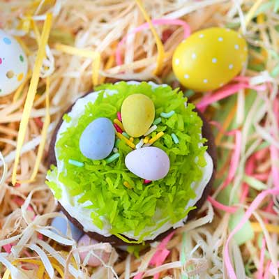 Frosted Chocolate Bird's Nest Cookies from Swanky Recipes