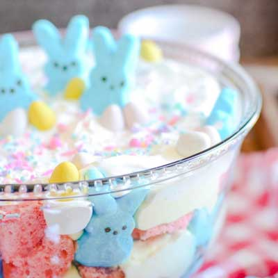Easter Pink Velvet Cheesecake Trifle from Something Swanky