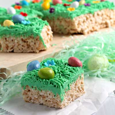 Easter Egg Hunt Rice Krispies Treats from Frugal Foodie Mama