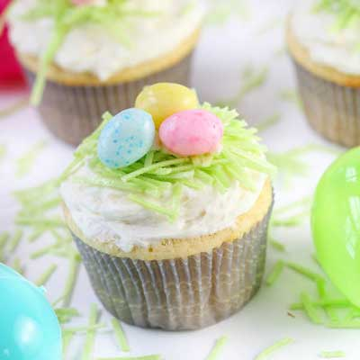Easter Lemon Cupcakes with Lemon Buttercream Frosting from Greens & Chocolate