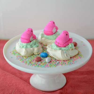 Mini Pavlova Peeps Nests from Crazy for Crust