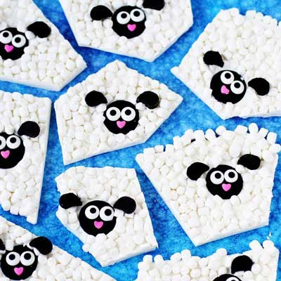 Woolly Lamb White Chocolate Bark from Hungry Happenings
