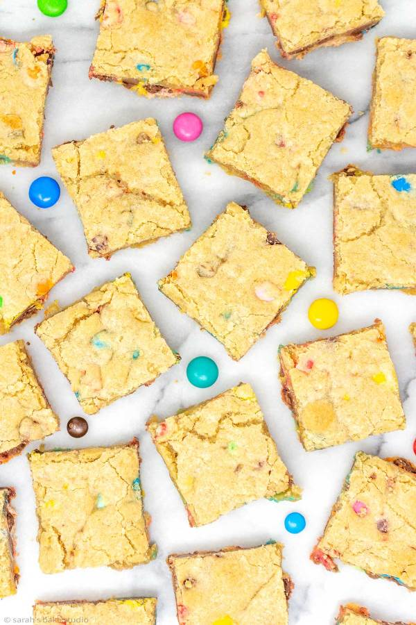 M&M Cookie Bars - soft and chewy cookie bars stuffed with a whole lot of M&M's Chocolate Candies.