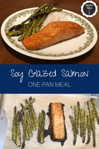 Two images: (1) Salmon on a plate with asparagus and white rice. (2) Salmon on a sheet pan with asparagus on either side.