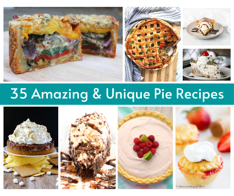 Collage of various pies with text that says 35 amazing and unique pies