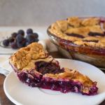Slice of concord grape pie