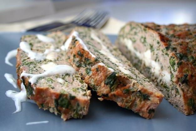 Feta Stuffed Turkey Meatloaf with Tzatziki Sauce