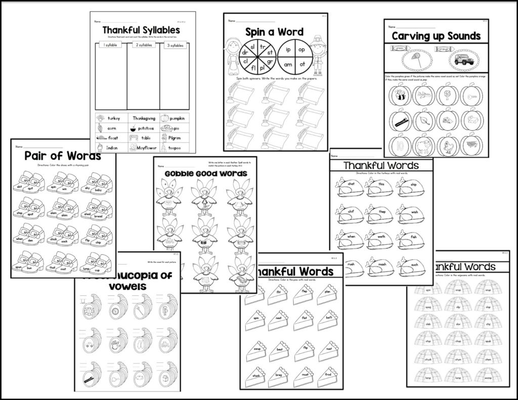 Thanksgiving Worksheets And Centers