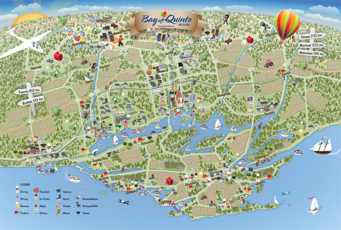 Bay of Quinte Map, designed and produced by the Bay of Quinte Marketing Board https://bayofquinte.ca/