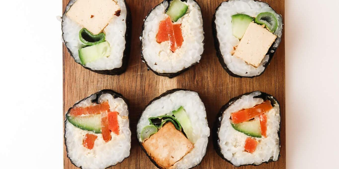 Vegan Sushi with Carrot Lox and Tahini Tofu
