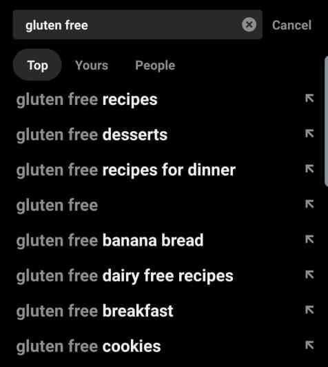 Pinterest Search Suggestions for Gluten Free