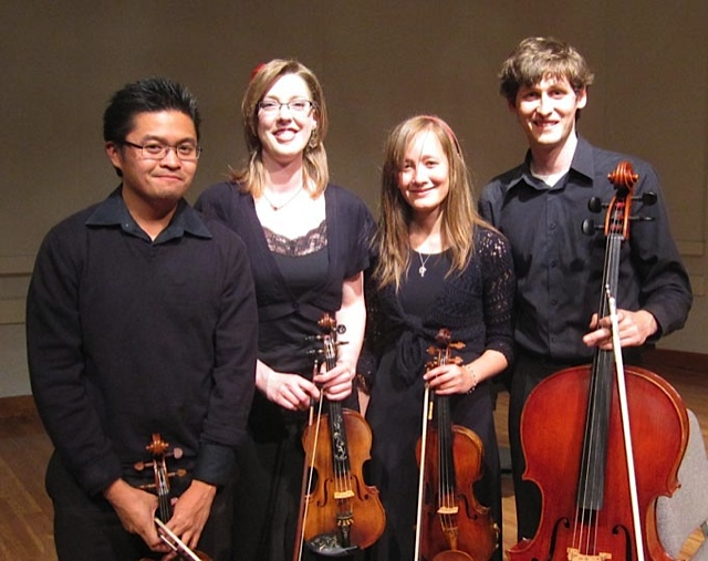 """Performing Sarah Wallin Huff's """"Anima Mechanicae: Soul of the Machine"""" at the 2nd Annual Chamber Music Festival! We're a sharp looking bunch!"""