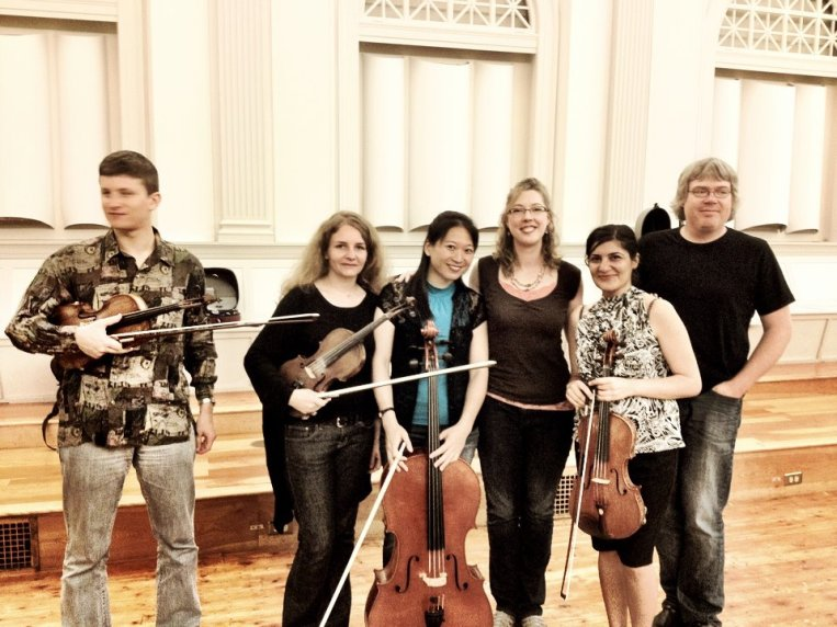 The New England String Quartet, with me and producer, violinist, composer, all-around fantastic guy, Andy Happel.