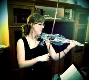 Sarah enjoys her new custom 6-string electric violin, Aisling
