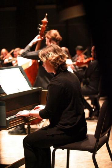 Hannah, one of three guest harpsichordists on the Corelli Concerto Grosso.