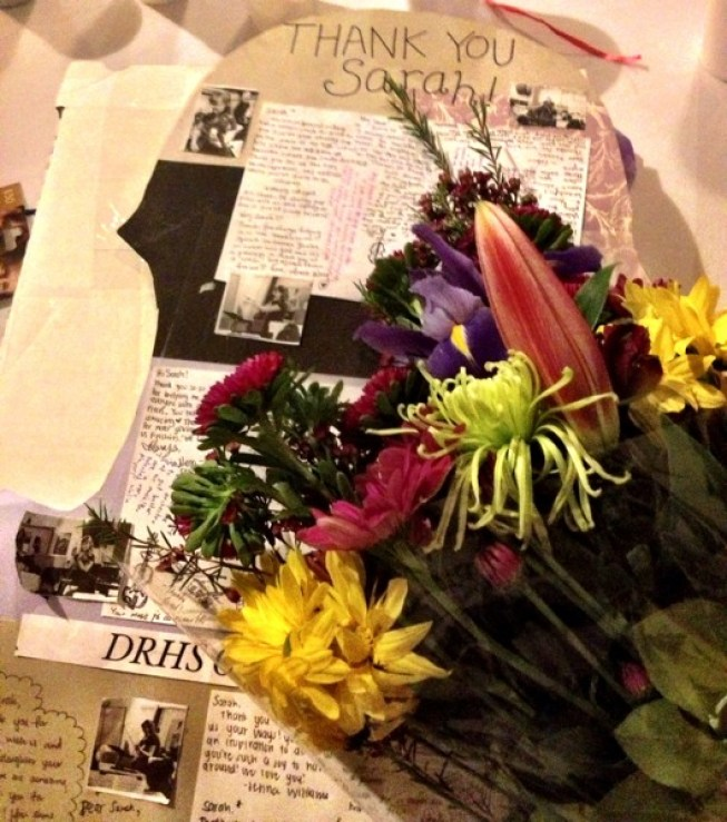 Bouquet of flowers, shadowbox with personal mementos of my time with them, and collage of pictures of me teaching in class and hand-written notes from the kids....