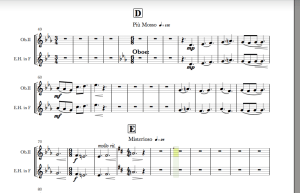 Full Score view, copying second instrument into main line.