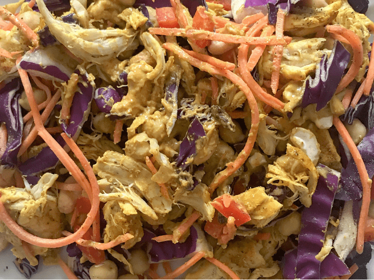 Chopped Turmeric Chicken Thai Salad with Curry Peanut Dressing | Sarah Wyland