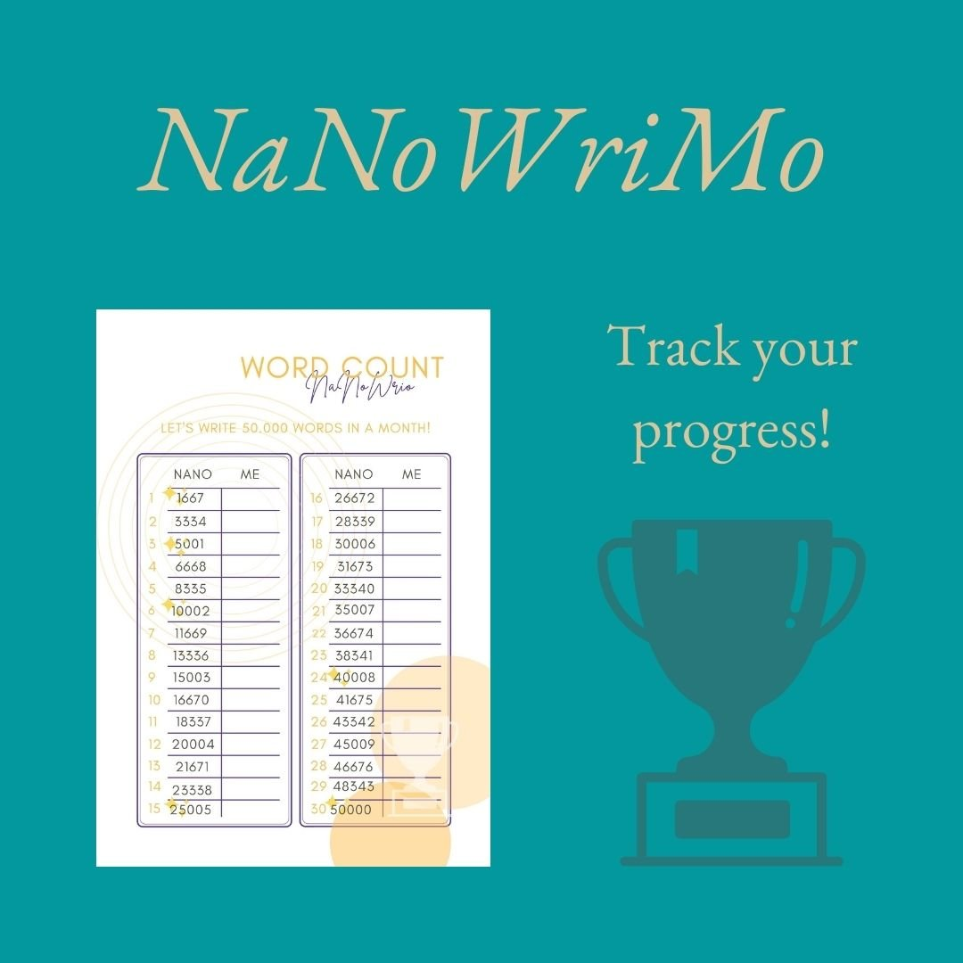 NaNoWriMo Workbook 2021 - Word count chart - Keep track of your NaNoWriMo progress