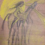 Chadwick Kesterbell Drawing Collaboration on wood- girl on horse with rays of light