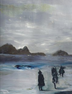 Nomads On The Shore blue California seascape oil painting by Sarah Zar fine art