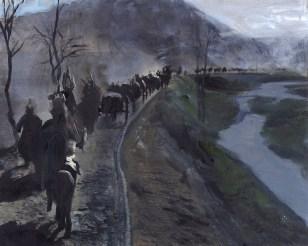 A dreamy landscape painting, depicting a caravan of nomads riding past a purple lake on horseback