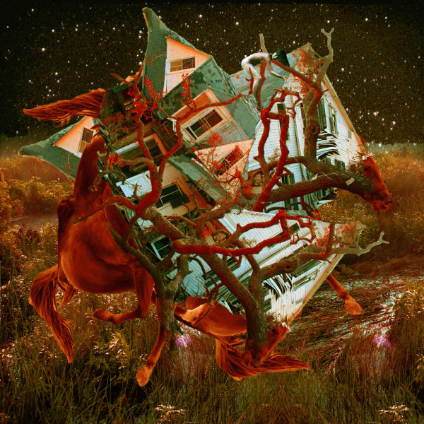 A tangled house horse spaceship flying at night - red collage art by Sarah Zar