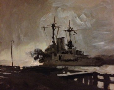 gray oil rig, a boat painting with a stormy sky, chiaroscuro