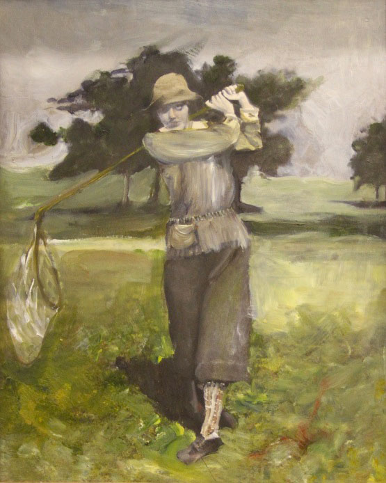 painting of a woman catching butterflies on a golf course
