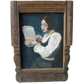 white and blue painting of a woman doing a crossword puzzle