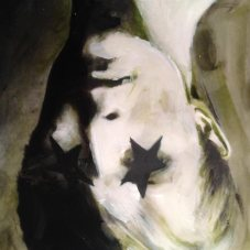 David bowie painting, upside down with black stars on his lids
