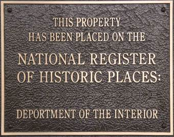 Deportment Of The Interior Historic Places National Register Plaque